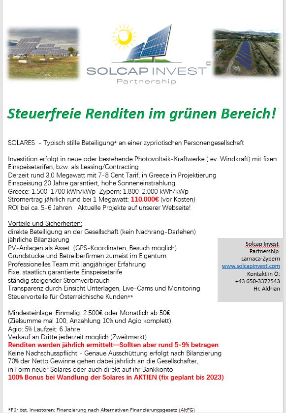 Solcap Invest PS (nicht für Deutschland zeichenbar)